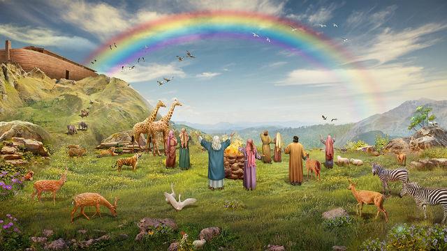 彩虹,挪亞一家八口