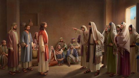 耶穌在殿裡講福音的時候,法利賽人進前來抵擋主耶穌