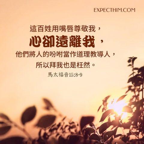 這百姓用嘴唇尊敬我,心卻遠離我;他們將人的吩咐當作道理教導人,所以拜我也是枉然。