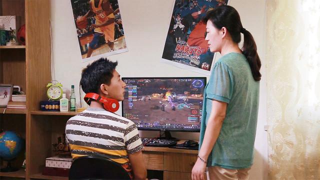 孩子,母親,電腦,遊戲