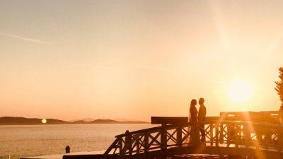 婚姻,情侶,日落,海邊