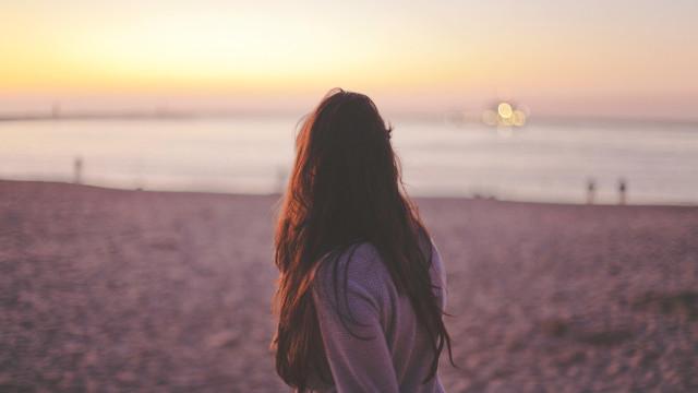 大海,女子,陽光
