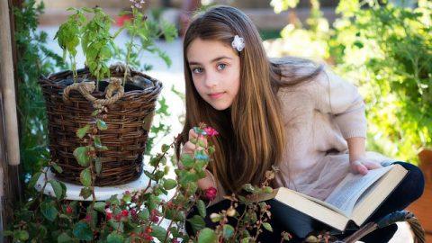 女孩,花朵,書籍