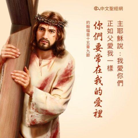 我愛你們,正如父愛我一樣;你們要常在我的愛裡。 約翰福音15:9