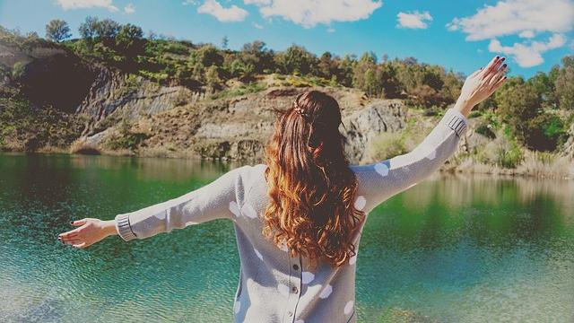 女子,湖邊,放鬆