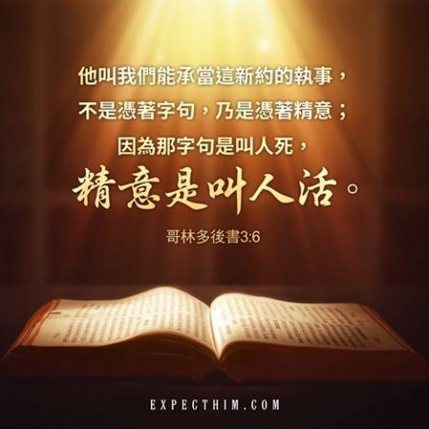 他叫我們能承當這新約的執事,不是憑著字句,乃是憑著精意;因為那字句是叫人死,精意(或作:聖靈)是叫人活。