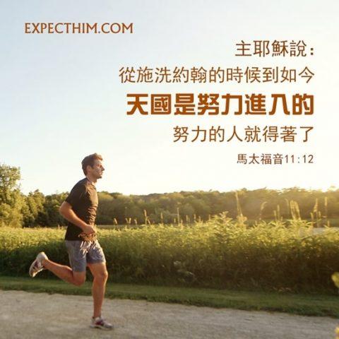 從施洗約翰的時候到如今,天國是努力進入的,努力的人就得著了。(馬太福音 11:12)