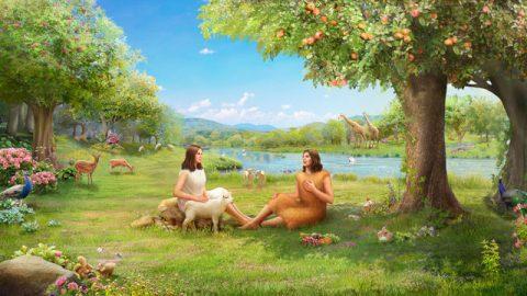 亞當和夏娃在伊甸園生活