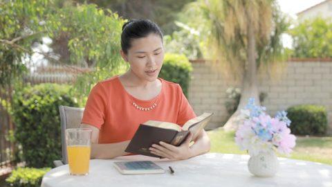 基督徒如飢似渴地捧著神話語書看,明白了「男人是女人的頭這方面的奧祕