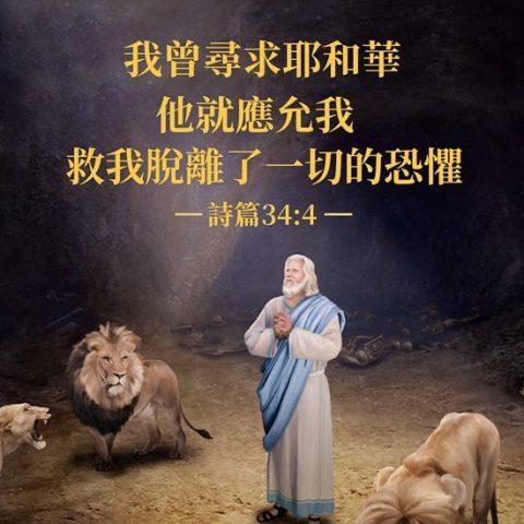 「我曾尋求耶和華,他就應允我,救我脫離了一切的恐懼。」詩篇 34:4