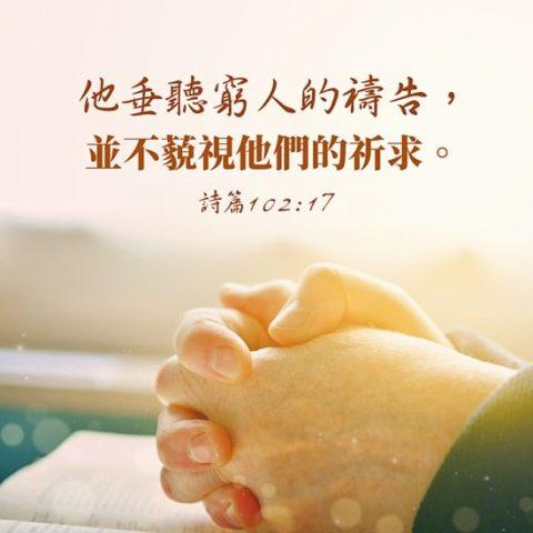 「他垂聽窮人的禱告,並不藐視他們的祈求。」詩篇 102:17
