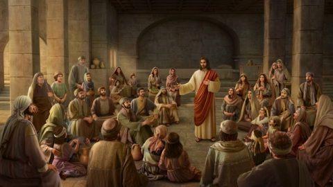主耶穌在教堂裡給眾人講道