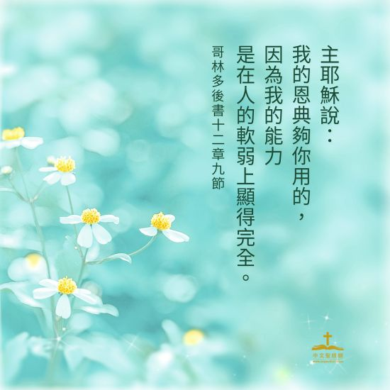 他對我說:「我的恩典夠你用的,因為我的能力是在人的軟弱上顯得完全。」(林後12:9)