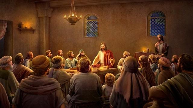 夜晚衆人圍着主耶穌聽道