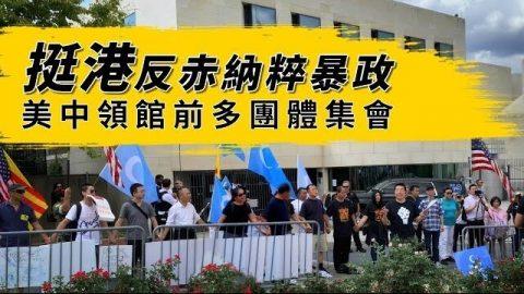 挺港反赤納粹暴政 美中領館前多團體集會
