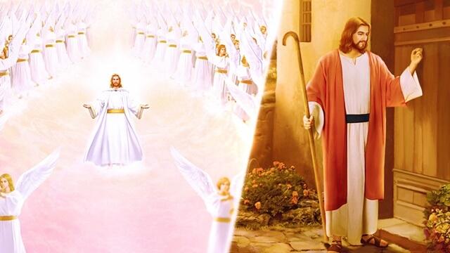 主帶着百萬天使駕雲降臨和主叩門的畫面